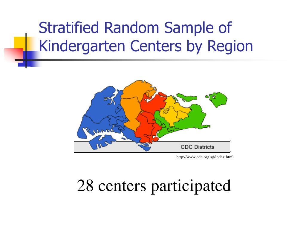 Stratified Random Sample of Kindergarten Centers by Region