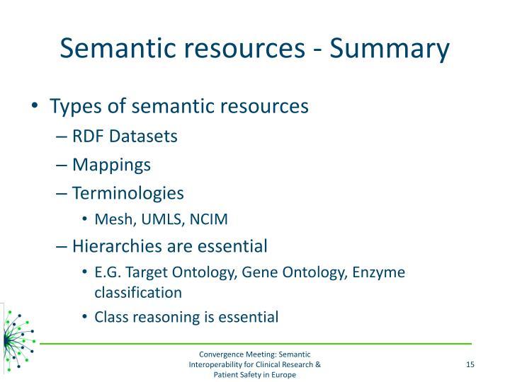 Semantic resources - Summary