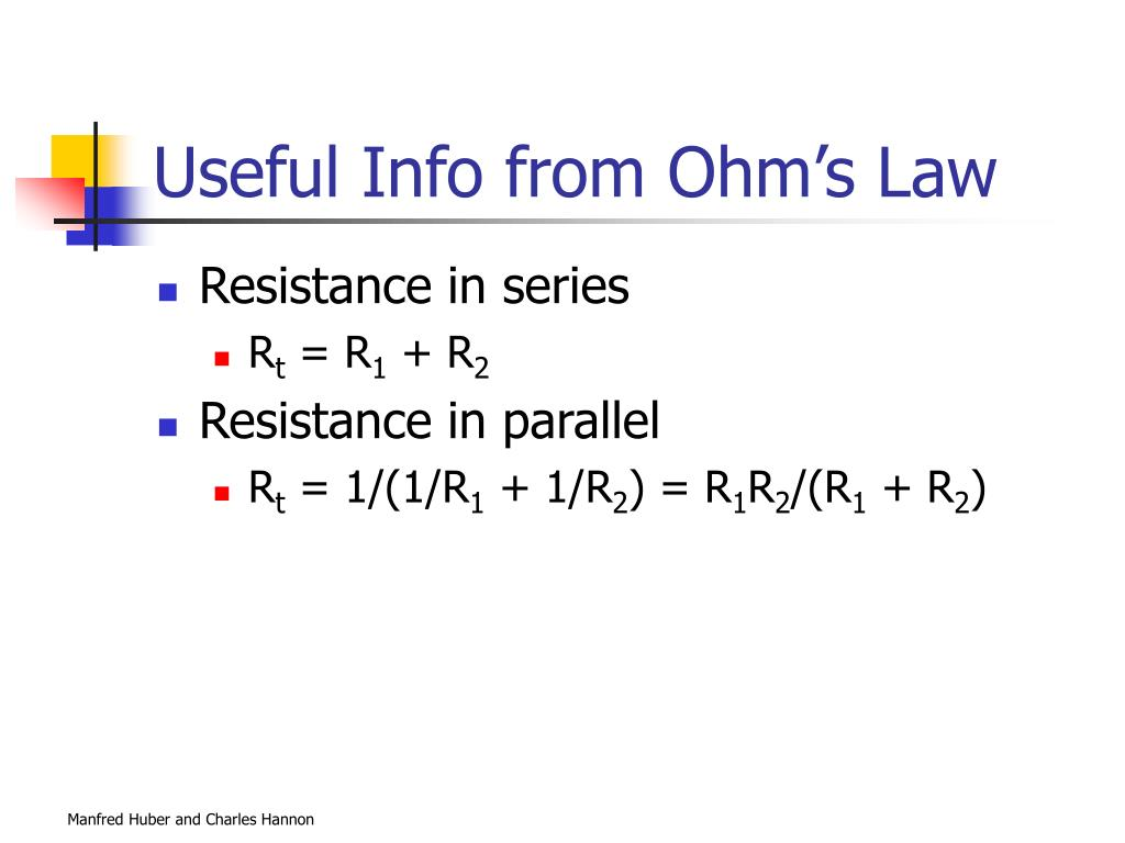 Useful Info from Ohm's Law