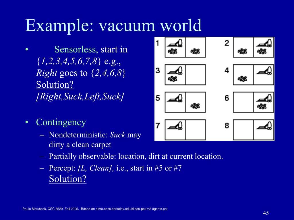 Example: vacuum world