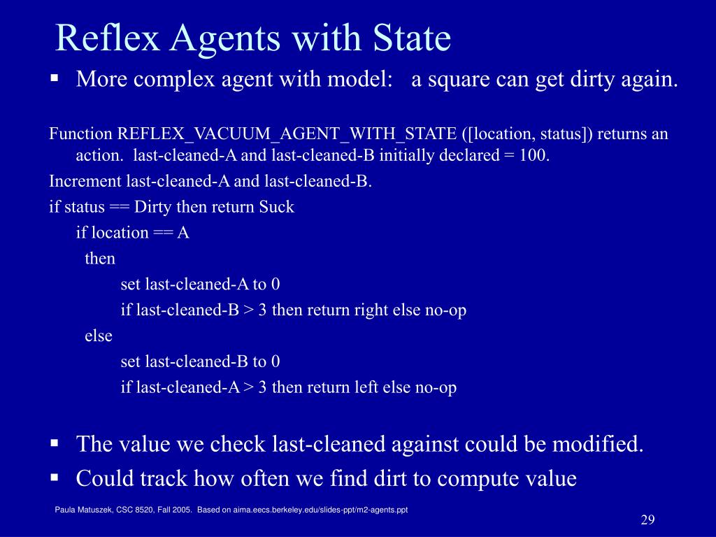 Reflex Agents with State