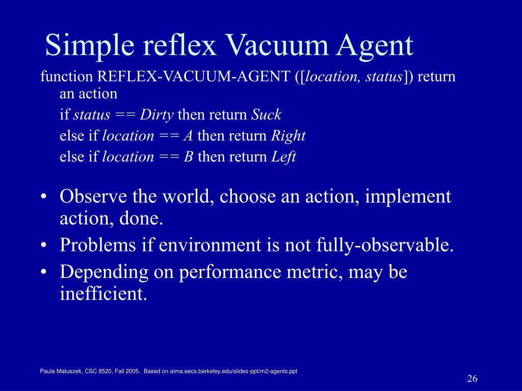 Simple reflex Vacuum Agent