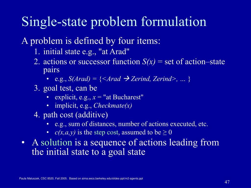 Single-state problem formulation