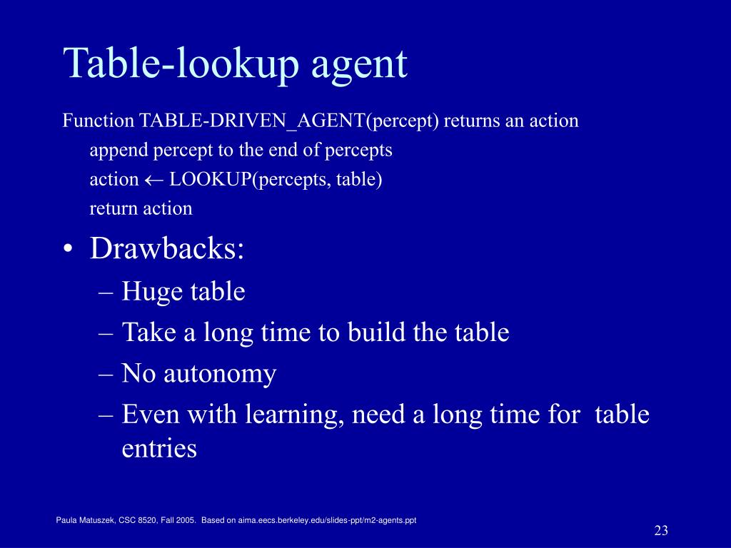 Table-lookup agent