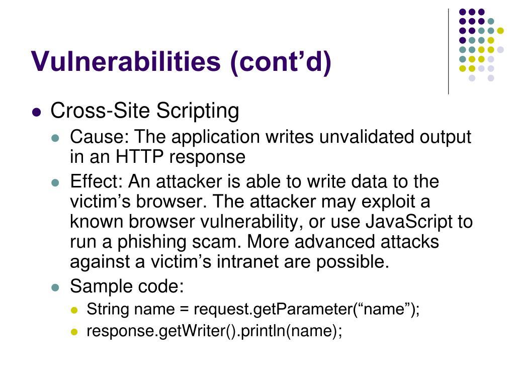 Vulnerabilities (cont'd)