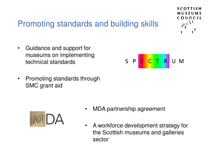 Promoting standards and building skills