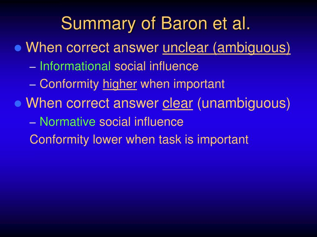 conformity summary The asch conformity experiments are among the most famous in psychology's history and have inspired a wealth of additional research on conformity and group behavior.