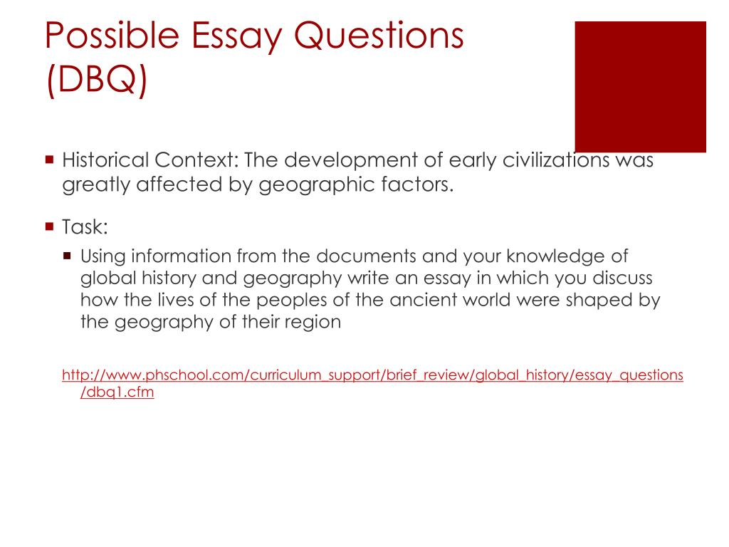 global regents thematic essay on reform homework possible essay questions dbq