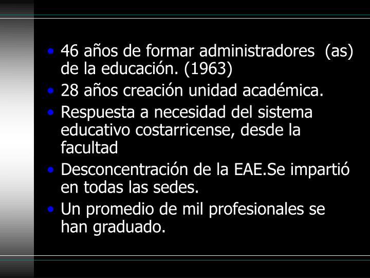 46 años de formar administradores  (as) de la educación. (1963)