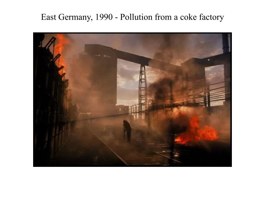 East Germany, 1990 - Pollution from a coke factory