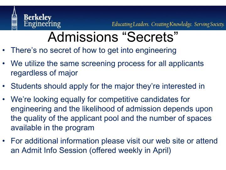 """Admissions """"Secrets"""""""