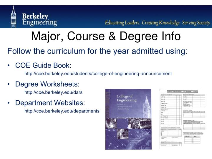 Major, Course & Degree Info