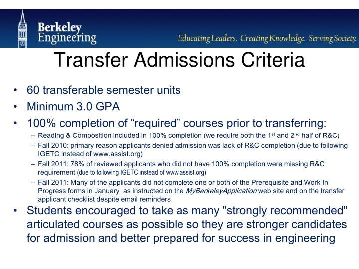 Transfer Admissions Criteria
