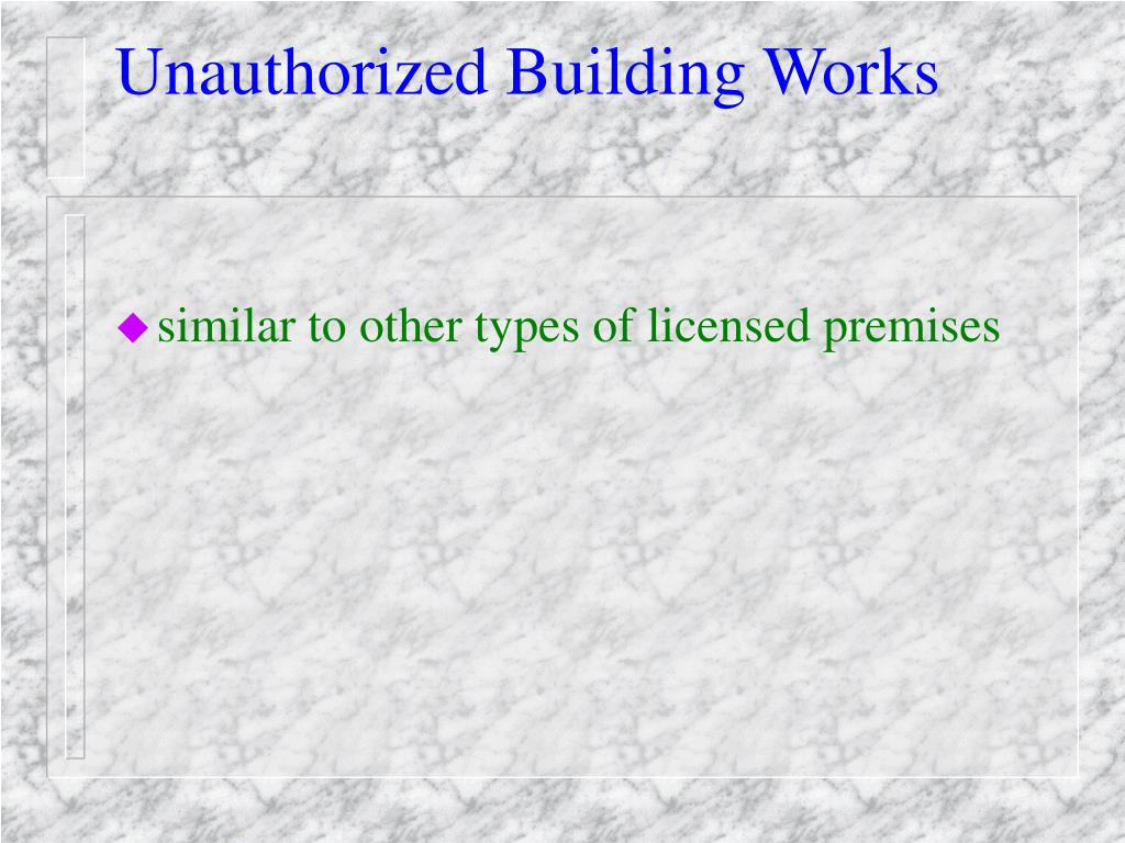 Unauthorized Building Works