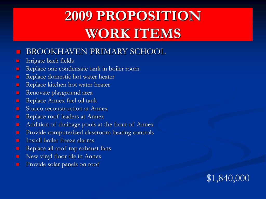 2009 PROPOSITION