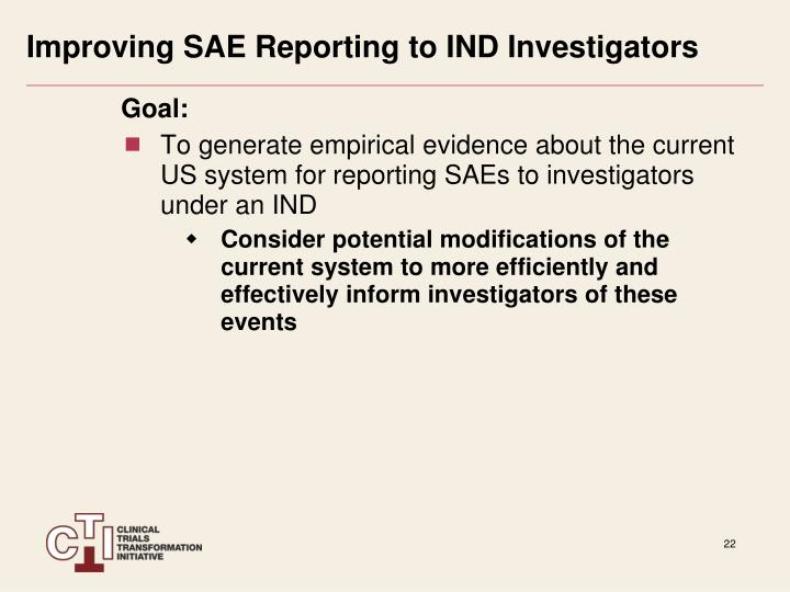 Improving SAE Reporting to IND Investigators