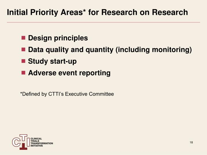 Initial Priority Areas* for Research on Research