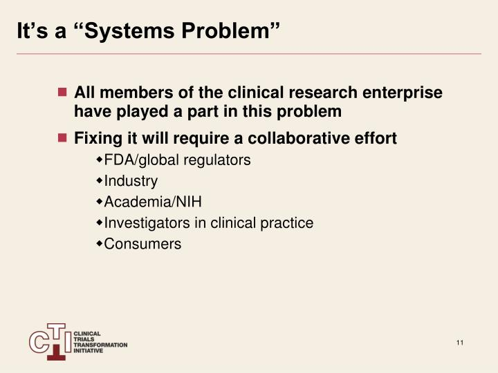 "It's a ""Systems Problem"""
