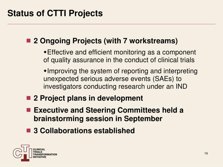 Status of CTTI Projects