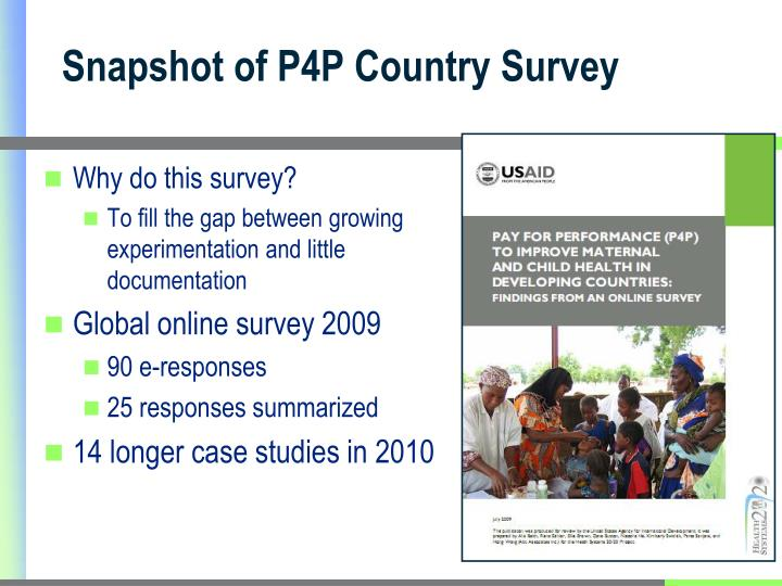 Snapshot of P4P Country Survey