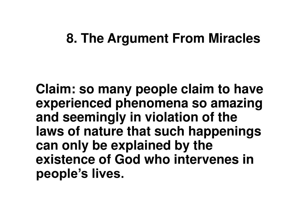 8. The Argument From Miracles