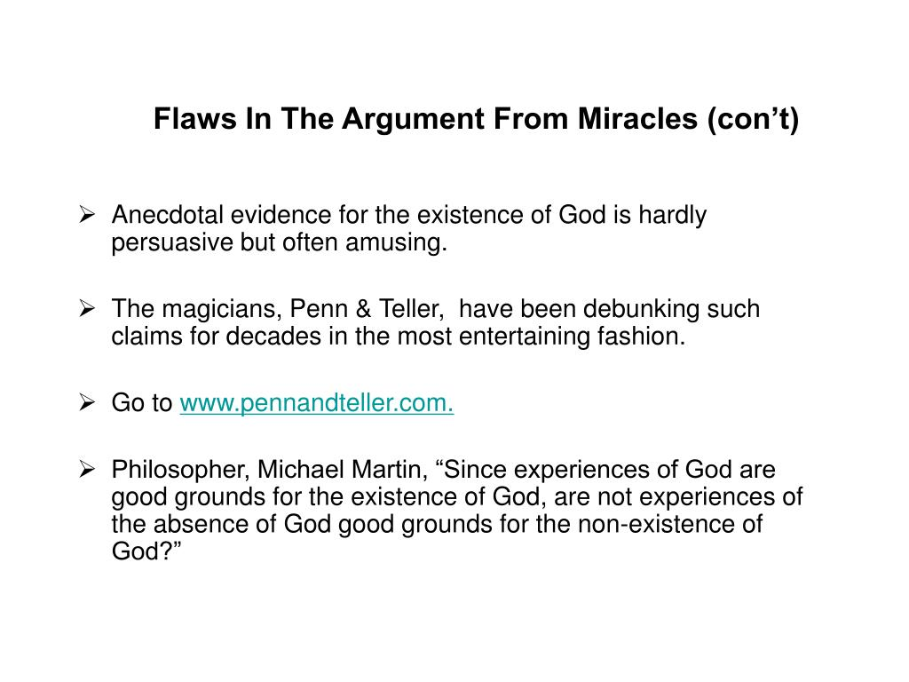 Flaws In The Argument From Miracles (con't)