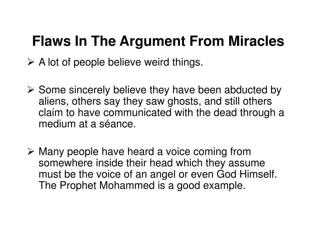 Flaws In The Argument From Miracles