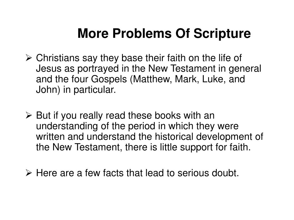 More Problems Of Scripture