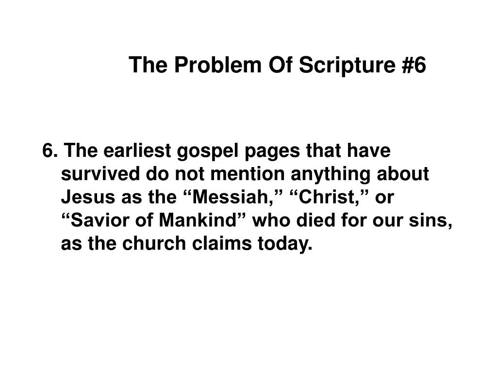 The Problem Of Scripture #6