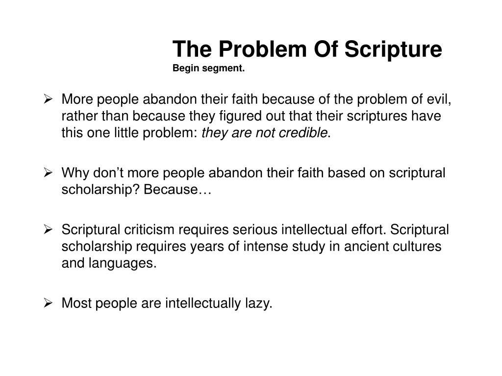 The Problem Of Scripture