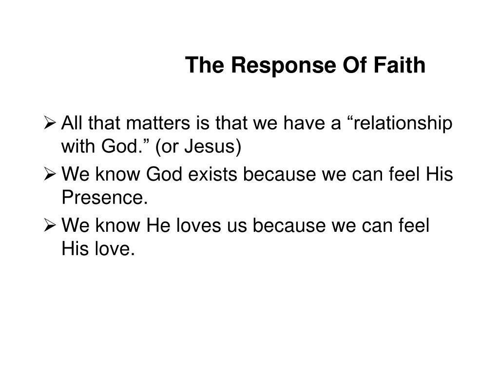 The Response Of Faith