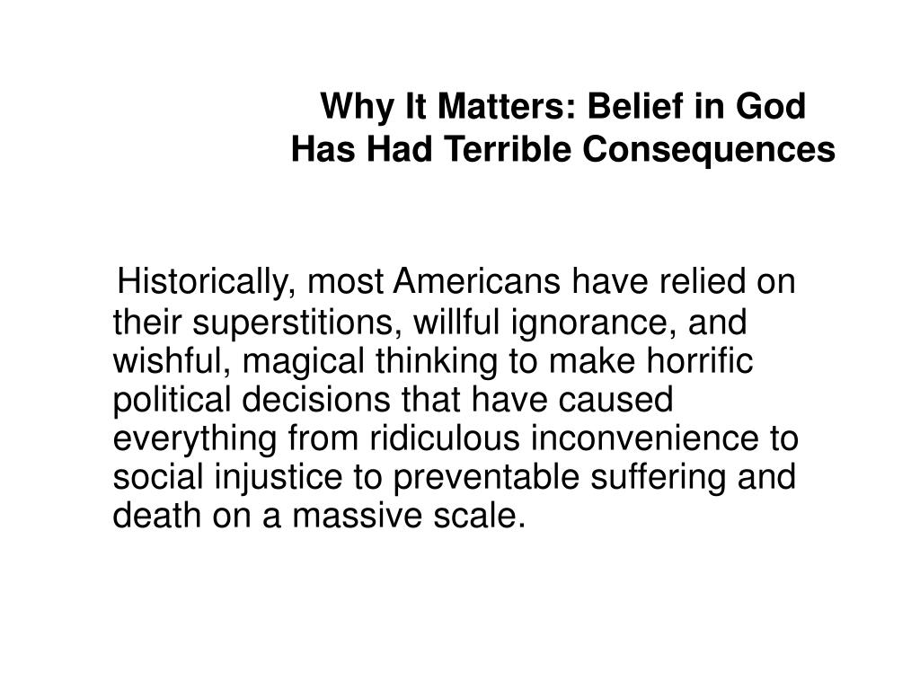 Why It Matters: Belief in God