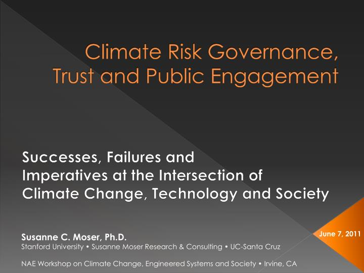 Climate risk governance trust and public engagement