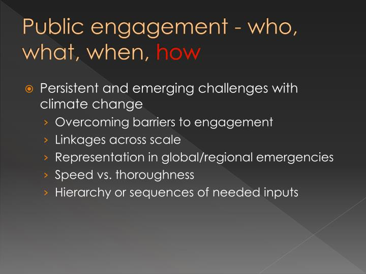 Public engagement - who, what, when,