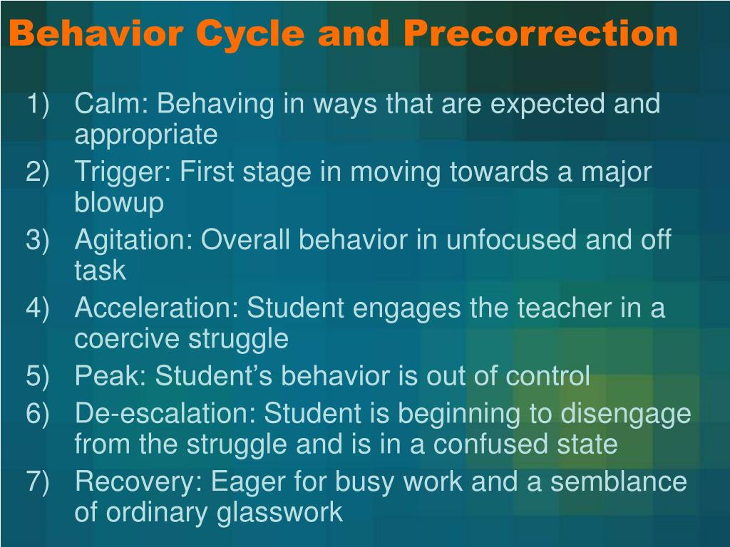 Behavior Cycle and Precorrection