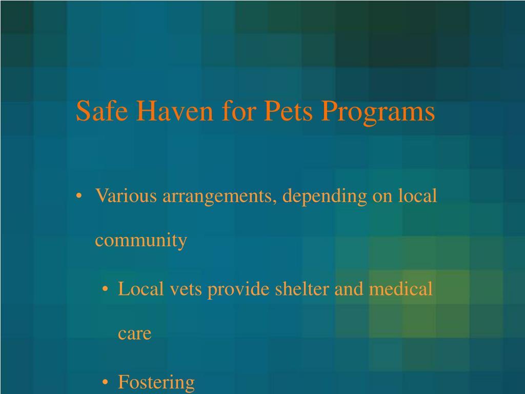 Safe Haven for Pets Programs