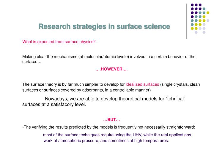Research strategies in surface science