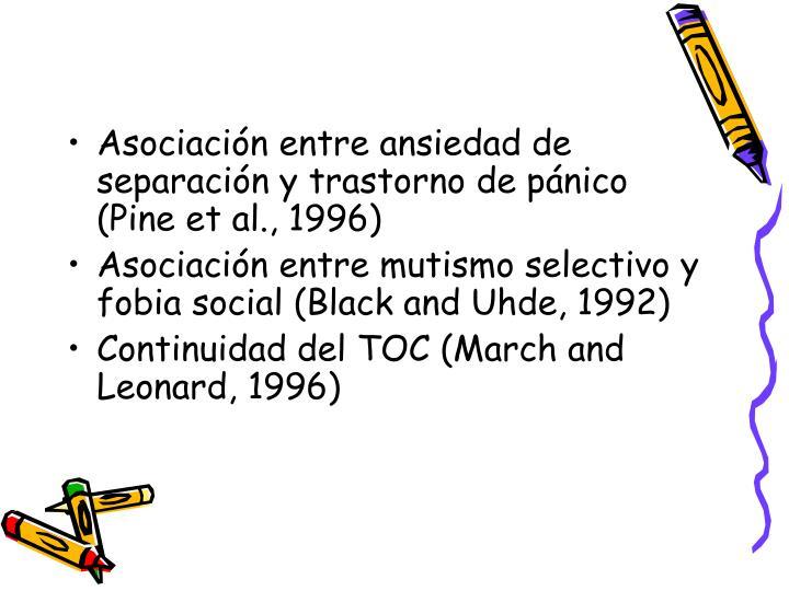 Asociación entre ansiedad de separación y trastorno de pánico (Pine et al., 1996)