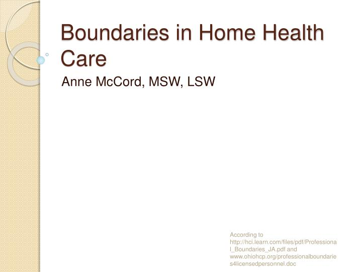 Boundaries in home health care