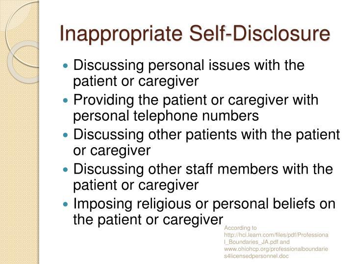 Inappropriate Self-Disclosure