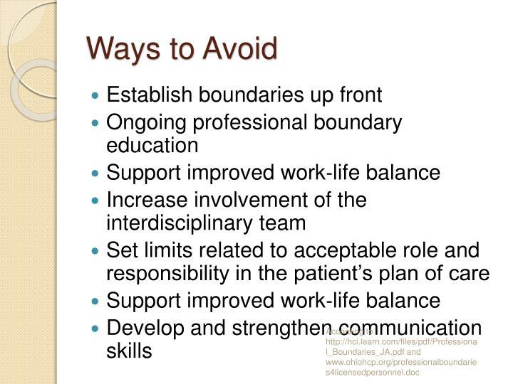 Ways to Avoid