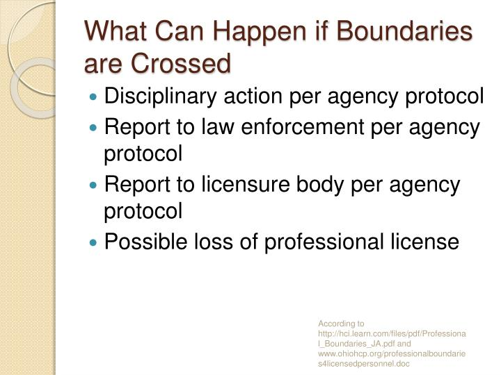 What Can Happen if Boundaries are Crossed