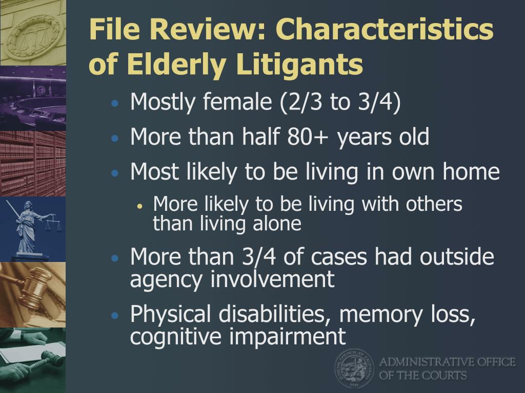 File Review: Characteristics of Elderly Litigants