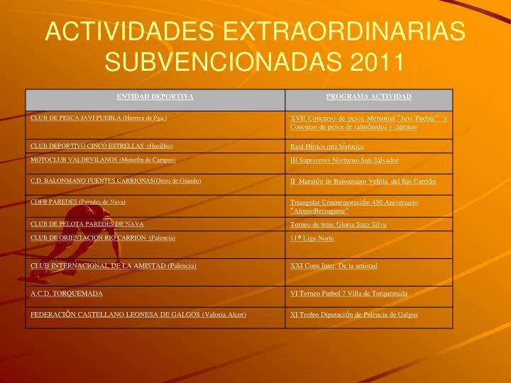 ACTIVIDADES EXTRAORDINARIAS