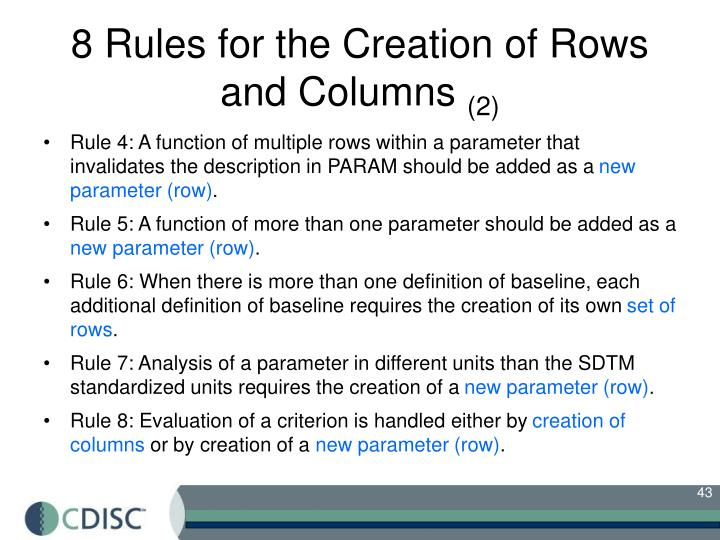 8 Rules for the Creation of Rows and Columns