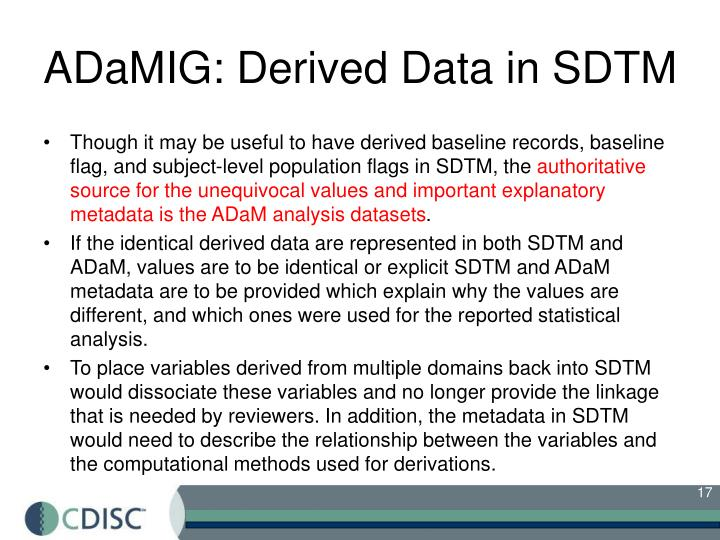 ADaMIG: Derived Data in SDTM