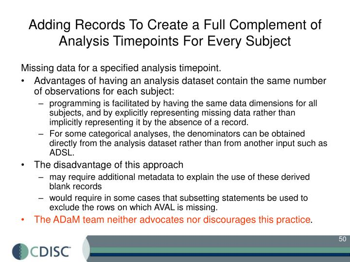 Adding Records To Create a Full Complement of Analysis Timepoints For Every Subject