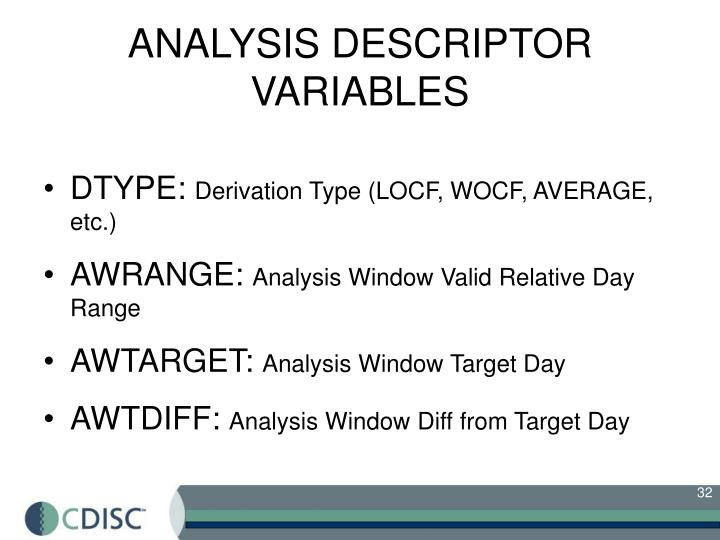 ANALYSIS DESCRIPTOR VARIABLES