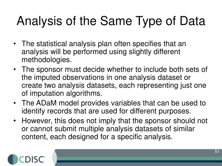 Analysis of the Same Type of Data