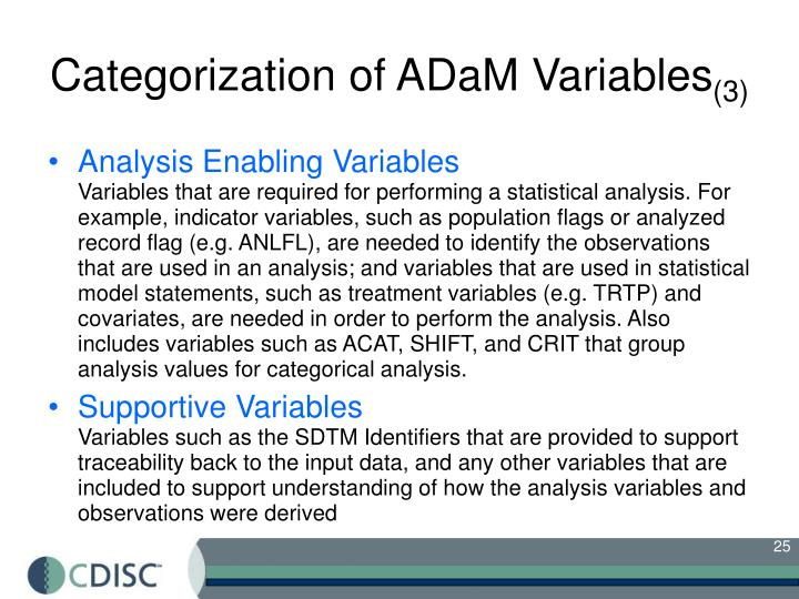 Categorization of ADaM Variables